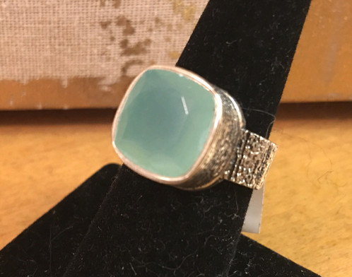 blue chalcedony silver bold drop aqua buy ring tear rings