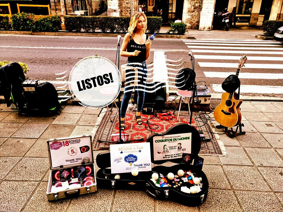 Petra, buskers in Spain