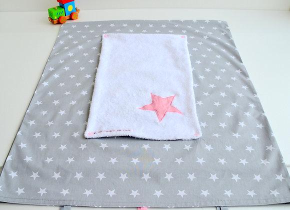 Housse de matelas à langer avec éponge gris et étoiles rose