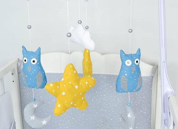 Mobile musical bébé hibou bleu pétrole, nuage minky blanc et étoiles moutarde