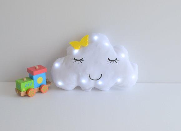 Veilleuse Led bébé nuage blanc et papillon jaune