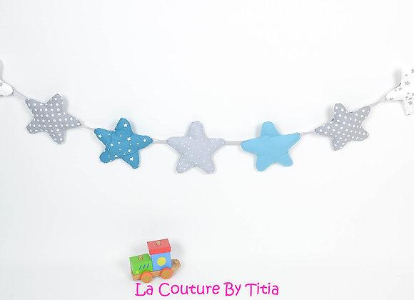 Guirlande étoiles décoration de chambre gris, bleu pétrole et turquoise