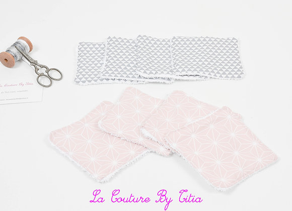 Lot de 8 lingettes éponge lavables, réutilisables géométriques rose et gris
