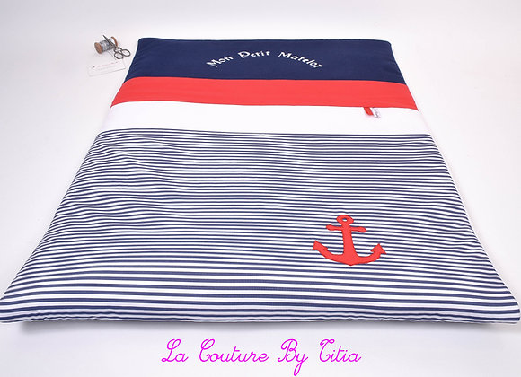 Couverture bébé 60/100 thème marin rayé blanc, bleu et ancre rouge