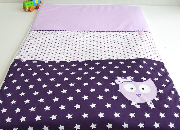 Couverture bébé personnalisable étoiles violet, blanc et hibou parme