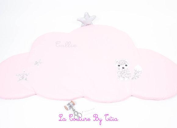 Tapis de chambre bébé 80 / 50 nuage rose et koala