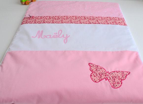 Couverture bébé personnalisable rose blanc et papillon Liberty Mitsi Rose