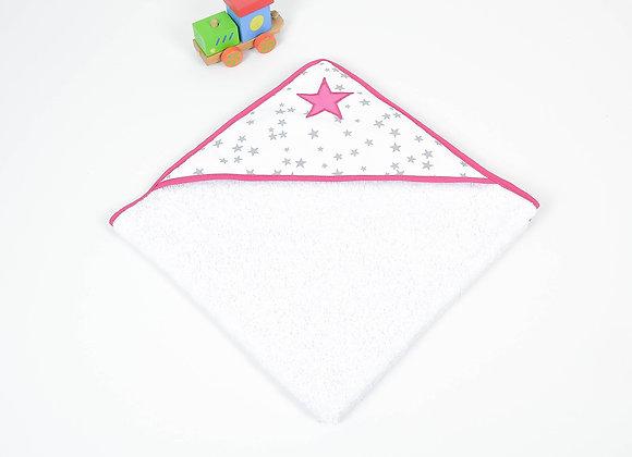 Cape de bain bébé en éponge gris, blanc et étoiles fuchsia