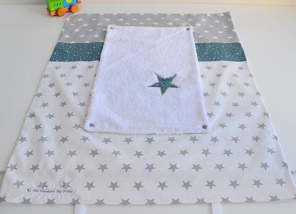 Housse de matelas à langer avec éponge étoiles gris, blanc et vert d'eau