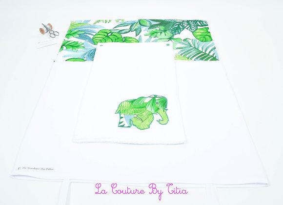 Housse de matelas à langer avec éponge blanc et éléphant feuillage jungle