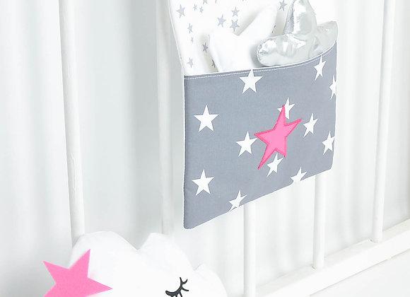 Pochette de rangement, vide poche gris anthracite et étoiles fuchsia