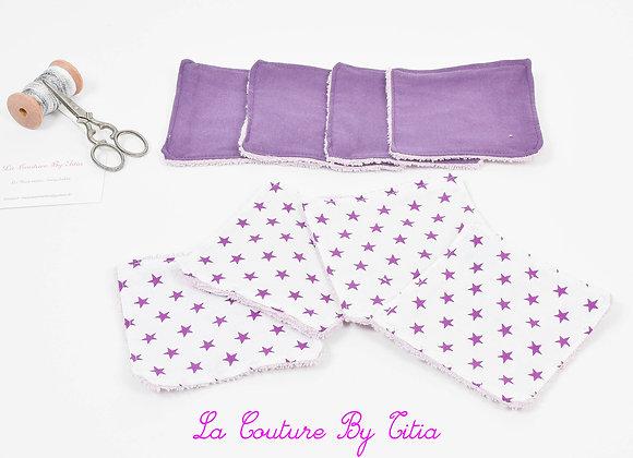 Lot de 8 lingettes éponge lavables, réutilisables blanc et étoiles violet