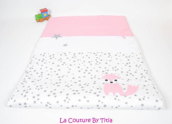 Couverture bébé personnalisable blanc étoiles glitter, gris et renard rose