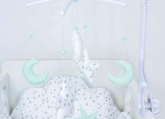 Mobile musical bébé lune vert d'eau étoiles gris et nuage minky blanc