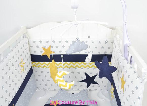 Mobile musical bébé lune chevron moutarde nuage minky et étoiles bleu m