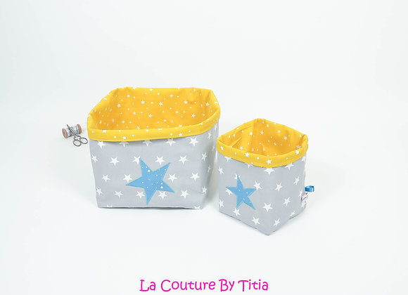 Lot de 2 panières corbeilles de rangement gris et étoiles jaune moutarde