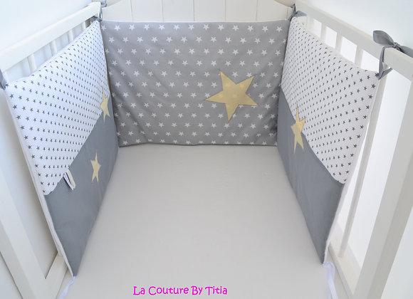 Tour de Lit étoiles Gris et Vanille