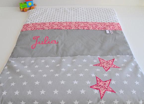 Couverture bébé personnalisable étoiles gris et Liberty Mitsi Rose