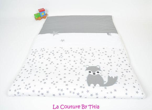 Couverture bébé 70/140 blanc étoiles glitter, gris, blanc et dragon vert