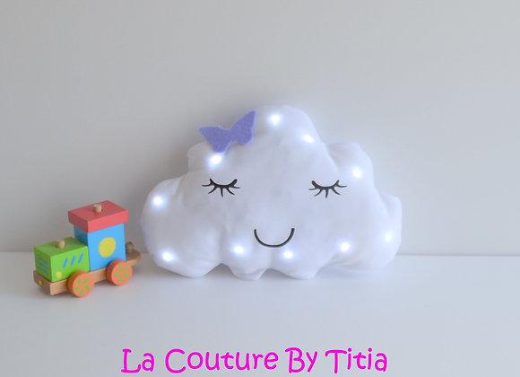 Veilleuse Led bébé nuage blanc et papillon parme