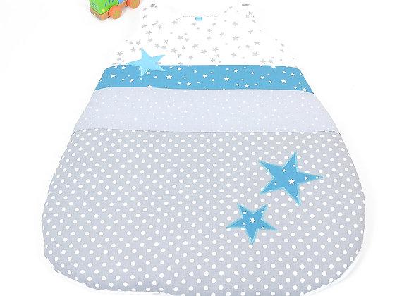 Turbulette gigoteuse gris à pois, pluie d'étoiles bleu pétrole et turquoise