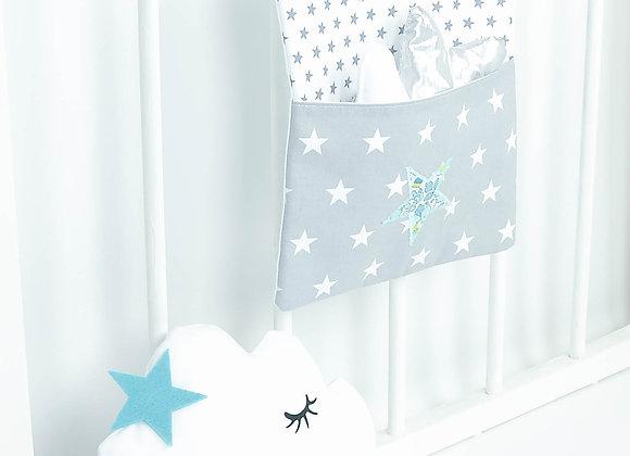 Pochette de rangement, vide poche blanc et étoiles Liberty Adelajda bleu