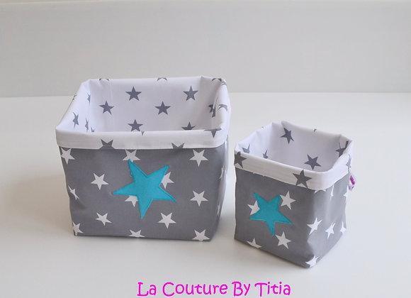 Lot de 2 panières corbeilles de rangement gris anthracite et étoiles turquoise