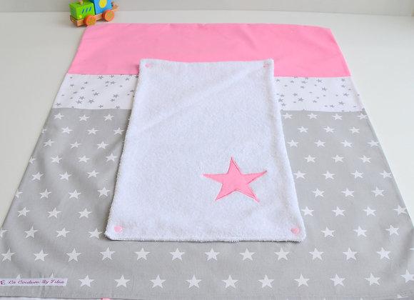Housse de matelas à langer avec éponge gris à pois et étoiles rose