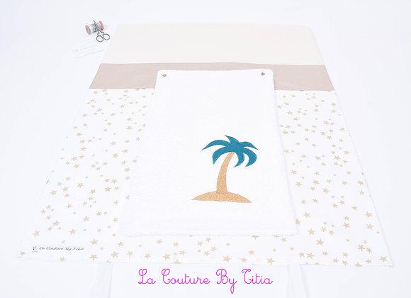 Housse de matelas à langer avec éponge blanc étoiles or, beige et palmier