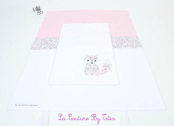 Housse de matelas à langer avec éponge blanc renard Liberty Wiltshire rose