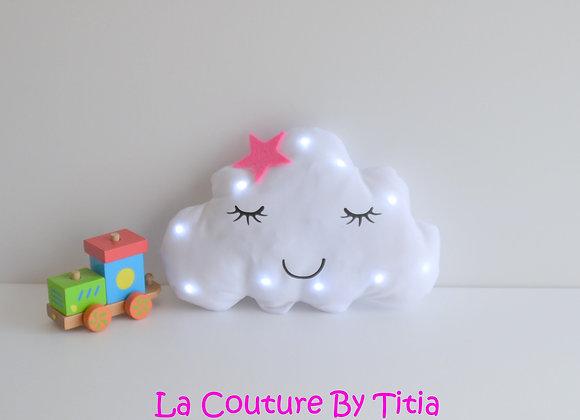 Veilleuse Led bébé nuage blanc et étoile fuchsia