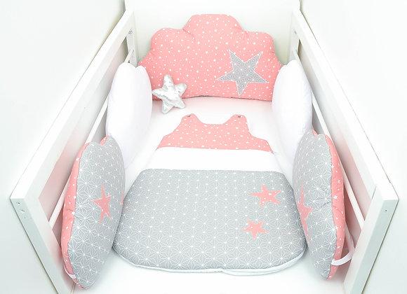 Tour de Lit nuage et gigoteuse gris origami japon et étoiles corail