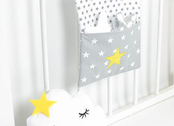 Pochette de rangement, vide poche gris et étoiles jaune