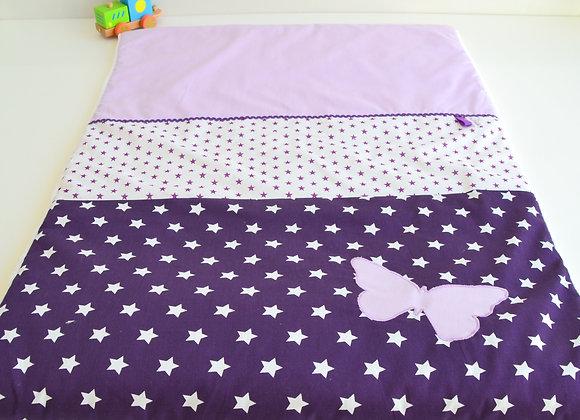 Couverture bébé personnalisable violet, blanc et papillon parme