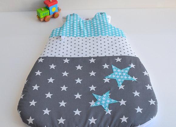 Turbulette gigoteuse gris anthracite et étoiles bleu turquoise