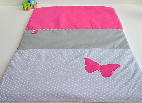 Couverture bébé personnalisable pois gris et papillon rose fuchsia