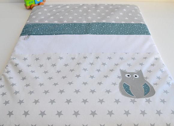Couverture bébé personnalisable gris, blanc et hibou bleu canard