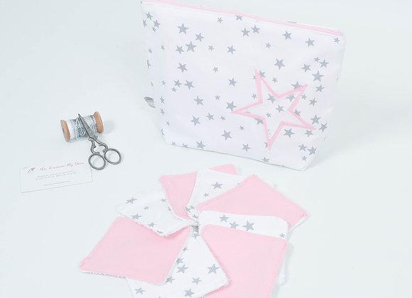 Trousse de toilettes et 8 lingettes bio blanc, gris et étoile rose