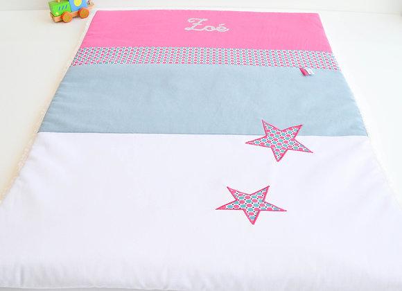 Couverture bébé personnalisable pois étoiles, gris bleu et fuchsia
