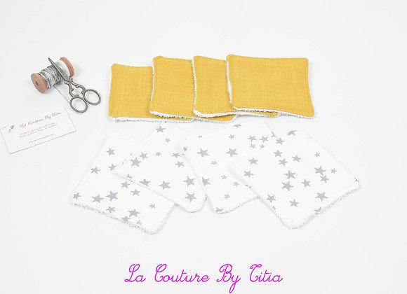Lot de 8 lingettes éponge lavables, réutilisables blanc étoiles gris et moutarde