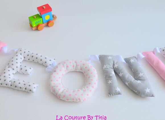 Guirlande prénom lettres décoration de chambre gris et rose