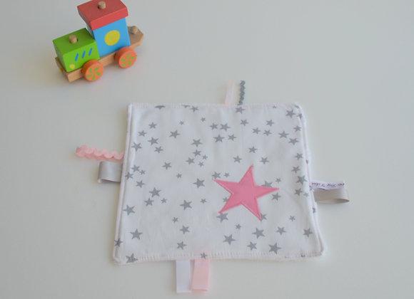 Doudou étiquette étoiles gris, blanc et étoiles rose