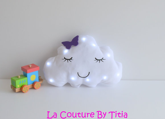 Veilleuse Led bébé nuage blanc et papillon bleu violet