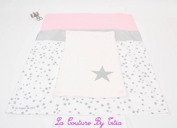 Housse de matelas à langer avec éponge pluie d'étoiles gris et étoiles argent