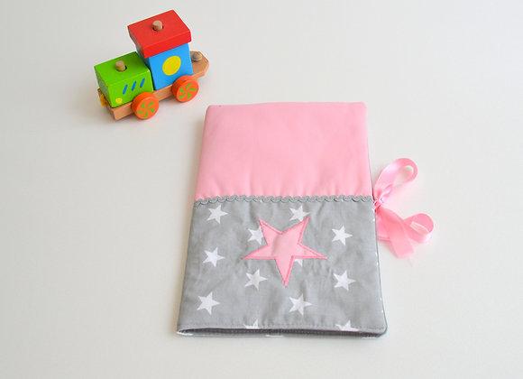 Protège carnet de santé étoiles gris et rose
