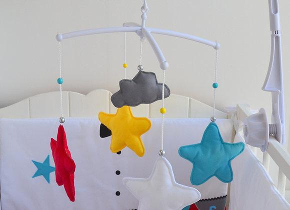 Mobile musical bébé papillon lune et nuage thème du cirque