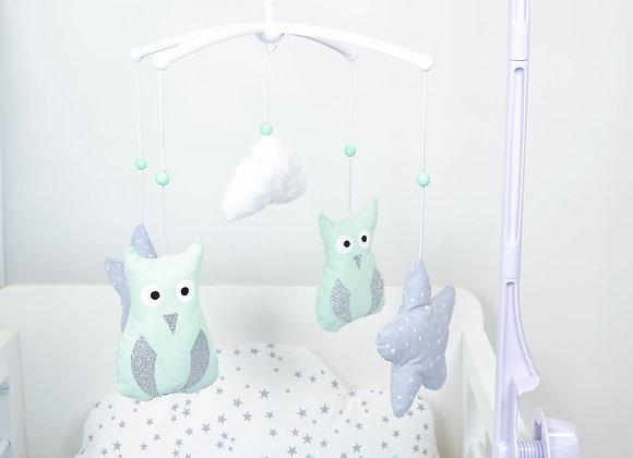 Mobile musical bébé hibou vert d'eau, nuage minky et étoiles gris