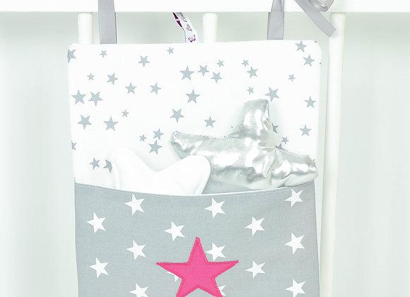 Pochette de rangement, vide poche gris, blanc et étoiles fuchsia