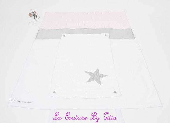 Housse de matelas à langer avec éponge blanc, rose poudré et étoiles argent