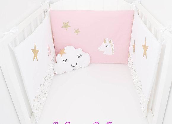 Tour de Lit blanc, étoiles dorées et licorne rose poudré